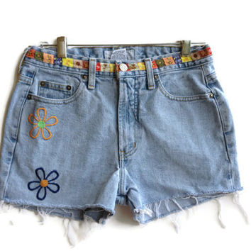 Vintage 70s High Waisted Denim Shorts Flowers Jean Shorts