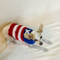 US Flag Dog Sweater Red White Blue Star Stripe American Coat Jacket Patriotic Crochet