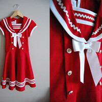 Ahoy Matey - Vintage 80s Red Sailor Dolly Dress White Trim Bow Nautical BONNIE JEAN