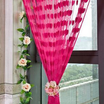 Lovely Heart Pattern String Curtain Beige Classic Line Curtain Window Room Divider 11 Colors 200*100cm