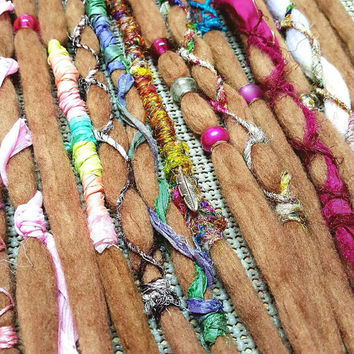 Wool Dreadlocks Custom Wool Dreads Handmade Hippie Dreads Hair Extensions Wool Dreads Ombre Hair Accessories Set of 15