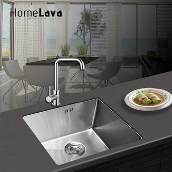 Hand-made Brushed 304# Stainless Steel Kitchen Sink faucet kitchen accessories Single Bowl 45*40*23cm HM4540