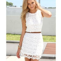 White Sleeveless Floral Lace Mini Dress