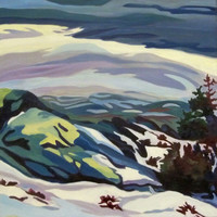 Mountain Snow Landscape Original Painting