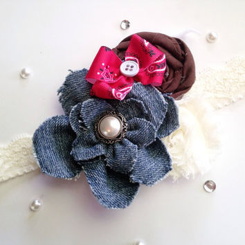 Baby Flower Headband, Baby Girl Lace Headband, Baby Bow Headband, Country Rustic Headband Hairclip,