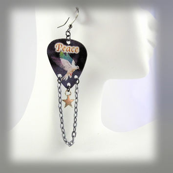 "Guitar Pick Earrings - Motion Animated Dove - ""Peace"" Chain Swag with Tiny Star Charm"