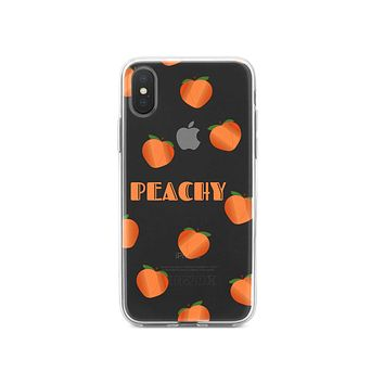 DistinctInk® Clear Shockproof Hybrid Case for Apple iPhone / Samsung Galaxy / Google Pixel - Peachy - Peach Emoji