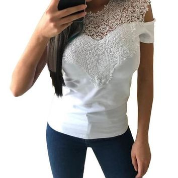 Tops and Tees T-Shirt Casual 2018 Women T-Shirts Lace Patchwork Elegant Cold Shoulder Short  Tee Slim Femme Clothing WS7286E AT_60_4 AT_60_4