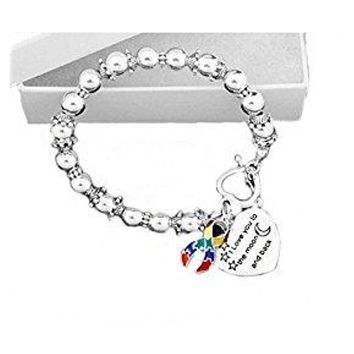 I Love You to the Moon and Back Ribbon Bead Bracelet for Autism