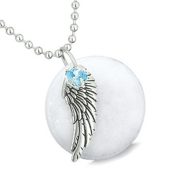 Amulet Angel Wing White Jade Medallion Sky Blue Swarovski Elements Heart Feather Pendant Necklace