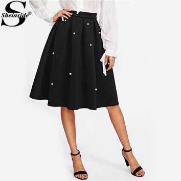 Pearl Embellished Boxed Pleated Circle Skirt Black Knee Length Elegant Flared Skirt