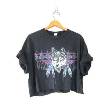 Vintage black WOLF TShirt. Grunge Shirt. Coyote Native American Tee Shirt. Cut off and cropped Worn in & Distressed.