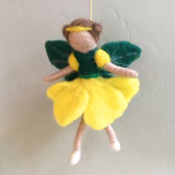 Waldorf Flower Fairy doll waldorf fairy waldorf doll felt fairy felt doll wool needle felting felted fairy yellow green fairyland fiber art