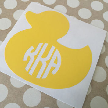 Yellow Duck Decal |Duck  Easter Monogram | MonogrammedDuck | Easter Basket Decal | Personalized Easter Basked | Duck Decal | Cute Duck Decal