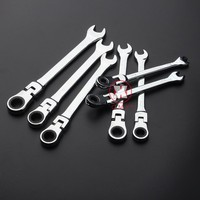 Professional Flexible Head Ratchet Wrench Combination Spanner Set Universal Wrench for Car Repair Tools CR-V Steel,6-24mm