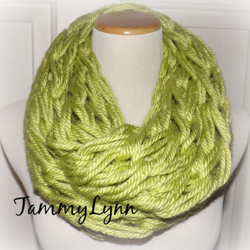 The Chunky Cowl Arm Knitted Monteray LIME GREEN Infinity Scarf Seahawks Chunky Cowl Warm Soft Knit Women's Accessories