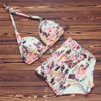 Plus size floral high waisted bikini halter high waist swimsuit strappy swimwear floral bodysuit big bra swimsuit fitkini
