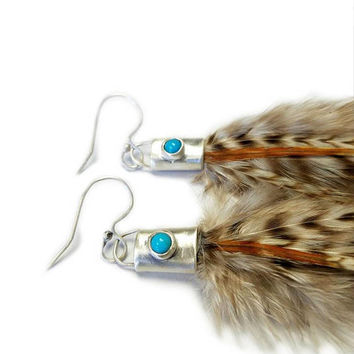 Feather Earrings, Turquoise Earrings, Hair Extension Feathers, Real Feathers, Sleeping Beauty Turquoise, Real Feather, Feather Earing