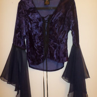 Crushed Velvet Blue Drapey Witch-Style Corset Top XS-S