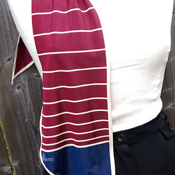 """Vintage Vera Scarf,62"""" x 7"""" Oblong Scarf,Extra Long Scarf,Burgundy and Navy Scarf,Tapered Scarf, Long Head Scarf,Vera Neumann Ponytail Scarf"""