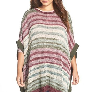 Plus Size Women's Two by Vince Camuto Marled Intarsia Stripe Poncho,