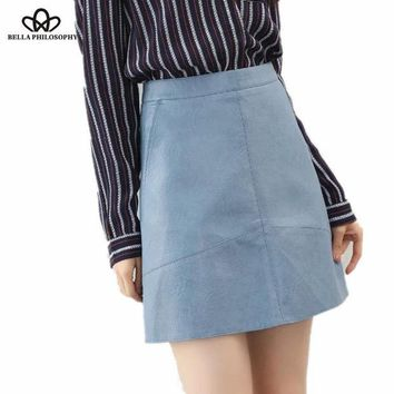 CREYET7 Bella Philosophy 2017 spring high waist PU faux leather women skirt pink yellow black green blue zipper real photo