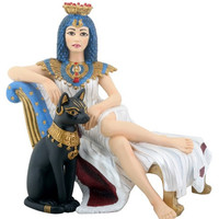 Cleopatra Seated on Couch with Bastet Cat Statue - 8147
