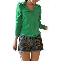 Allegra K Women Button Down Long Sleeve Shirt Casual Chiffon Tops