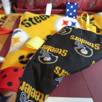 Pittsburgh Steelers crinkle tag blanket/lovey with grosgrain and satin ribbon