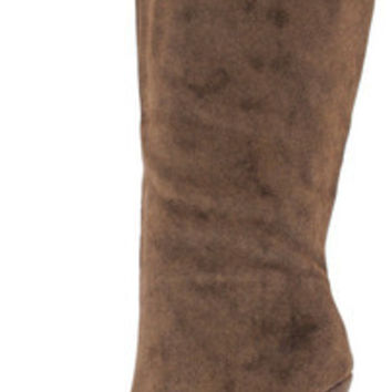 PRIYA BROWN LASER CUT KNEE HIGH BOOT