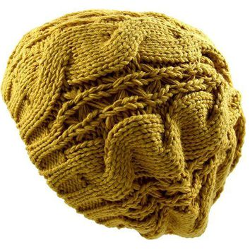 DCK4S2 RW Warm Chuncky Knit Over Size Cable Beanie Beret(More colors)