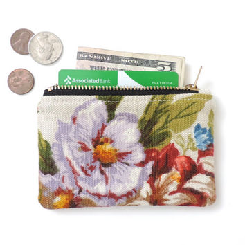 Floral Wallet Coin Purse Zipper Pouch Linen