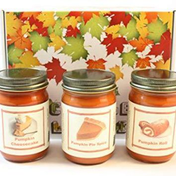 "Fall Scented Candle Collection Set, ""Pumpkin Fest"" - Pumpkin Pie Spice, Pumpkin Roll, Pumpkin Cheese Cake, Three 12 Ounce Candles"