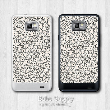 Cute Samsung Galaxy S2 case - Many Cats - galaxy S2 cover, Black / Clear hard SII case