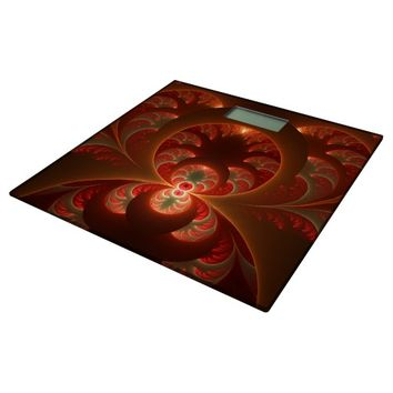 Luminous abstract modern orange red Fractal Bathroom Scale