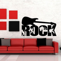 Wall Decor Vinyl Sticker Room Decal Art Music Guitar Rock And Roll Jumping People 992