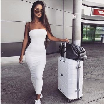 Fashion women summer dress new arrival solid 6 colors off shoulder strapless sheath hip sexy nightclub wear party dress