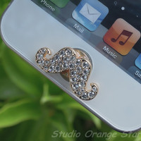 1PC Bling Clear Crystal Cute  Mustache Apple iPhone Home Button Sticker for iPhone 4,4s,4g, iPhone 5, iPad, Cell Phone Charm
