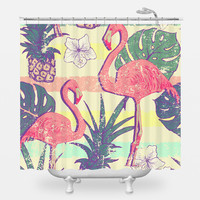 Flamingos and Pineapples Shower Curtain