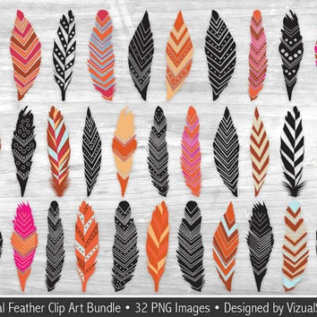 Tribal Feather Clip Art Bundle, 32 Digital Feathers & Silhouettes Clipart, Native American Feathers, Navajo Indian Feather Scrapbook Clipart