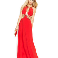 Joanna Chen Beaded Cutout Red Carpet Gown
