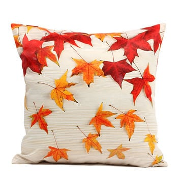 45*45 cm 3d Cushion Cover Red Maple LeafPillow Covers Decorative Home Decor Cushion Covers Decorative Pillows for Sofa  S0109G