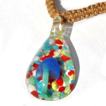 Glass Blue Psychedelic Mushroom with Colorful Background Hemp Necklace