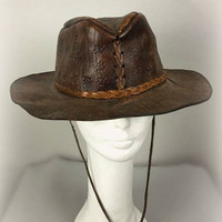 ViNtAgE Structured Leather Embossed Distressed Hat Folk Fest cap Festival Boho Gypsy Hippie Western Cowboy Western Coachella Mens Womans