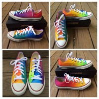 Rainbow Tie Dye Custom Converse Low Tops
