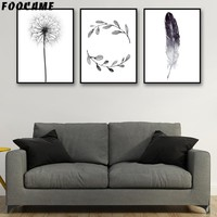 FOOCAME Dandelion Feather Leaves Nordic Posters and Prints Art Canvas Painting Modern Home Decor Wall Pictures For Living Room