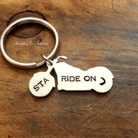 Hand Stamped Ride On Motorcycle Keychain,  Personalized Biker Keychain, Gift for Biker, Custom Motorcycle Keychain, Gift for Him