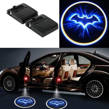 Batman Dark Knight gift Christmas 2x LED Car Door Welcome Light Laser Car Door Shadow Led Projector Logo Batman Wireless Universal Car Welcome Door Car-styling AT_71_6