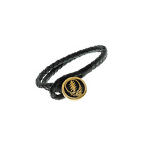 Steal Your Face Brass And Black Leather Bracelet