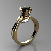 Swan 14K Yellow Gold 1.0 Ct Black Diamond Fairy Engagement Ring R1030-14KYGBD